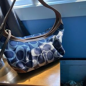 Navy and Tan Coach Purse